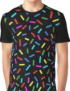 Bright Colorful Rainbow Sprinkles On Black Graphic T-Shirt