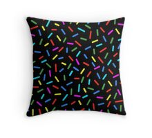Bright Colorful Rainbow Sprinkles On Black Throw Pillow