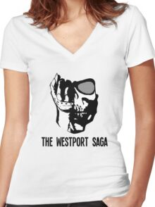 Westport Logo with Text Women's Fitted V-Neck T-Shirt