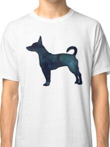 Rat Terrier Black Watercolor Silhouette Classic T-Shirt