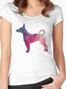 Rat Terrier Dog Colorful Geometric Pattern Silhouette - Pink Women's Fitted Scoop T-Shirt