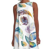 Boho Watercolor Feathers A-Line Dress