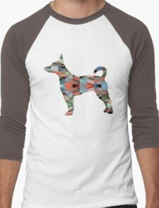 Rat Terrier Dog Colorful Geometric Pattern Silhouette - Plaid Men's Baseball ¾ T-Shirt