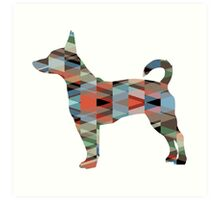 Rat Terrier Dog Colorful Geometric Pattern Silhouette - Plaid Art Print