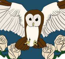 Owl and roses Sticker
