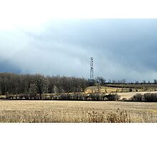 Talking with God: Communication Tower  Landscape ~ Highway 401 Series (Jul16) Photographic Print