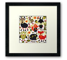 Woodland animals and birds Framed Print