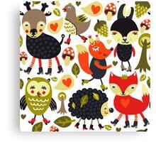 Woodland animals and birds Canvas Print
