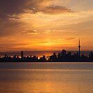 First Sun Rays - Toronto Skyline at Sunrise by Georgia Mizuleva