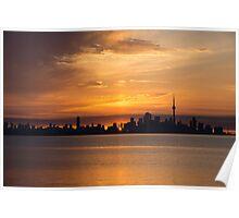 First Sun Rays - Toronto Skyline at Sunrise Poster