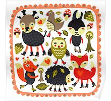 Woodland animals and birds Poster