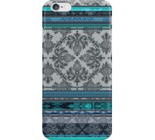 Teal, Aqua & Grey Vintage Bohemian Wallpaper iPhone Case/Skin