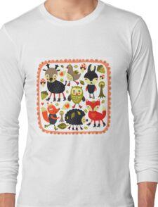 Woodland animals and birds Long Sleeve T-Shirt