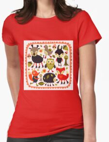 Woodland animals and birds Womens Fitted T-Shirt
