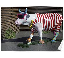 Painted Cow on Holiday - at Floriade Poster