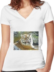 A Tiger smiles for you Women's Fitted V-Neck T-Shirt