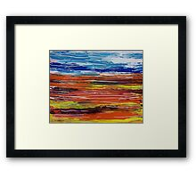 Orange Blue Yellow Ultramarine Lines Painting Landscape Framed Print