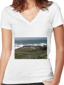 Cape Perpetua ©  Women's Fitted V-Neck T-Shirt