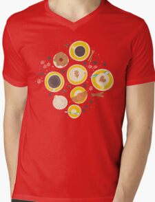 Coffee upper view seamless Mens V-Neck T-Shirt