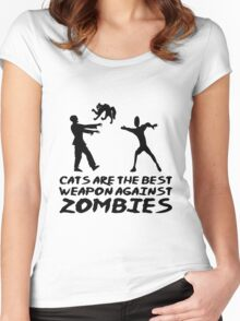 CATS ARE THE BEST WEAPON AGAINST ZOMBIES Women's Fitted Scoop T-Shirt