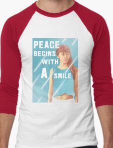 Peace begins with a smile Men's Baseball ¾ T-Shirt