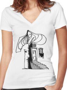 Through Doors Women's Fitted V-Neck T-Shirt