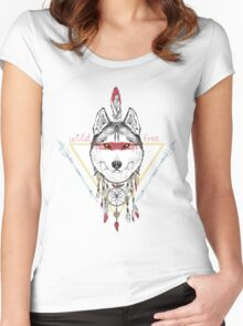 wolf indian warrior Women's Fitted Scoop T-Shirt