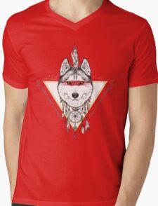 wolf indian warrior Mens V-Neck T-Shirt