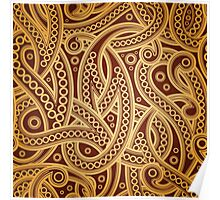 Gold and brown vector vintage pattern Poster
