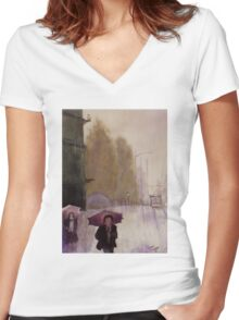 Walking in the rain Women's Fitted V-Neck T-Shirt