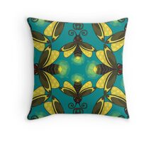Firefly in blue green Damask Throw Pillow