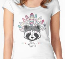 raccoon aztec style Women's Fitted Scoop T-Shirt