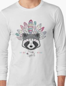 raccoon aztec style Long Sleeve T-Shirt
