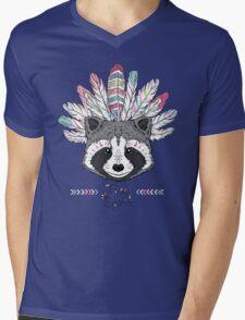 raccoon aztec style Mens V-Neck T-Shirt