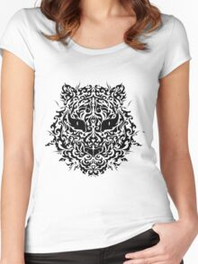 line art tiger head Women's Fitted Scoop T-Shirt