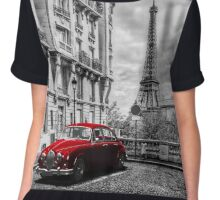 Artistic Paris, France. Eiffel Tower seen from the street with red retro limousine car Chiffon Top