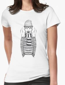 Hand Drawn Fashion Illustration of Doggy Hipster Womens Fitted T-Shirt