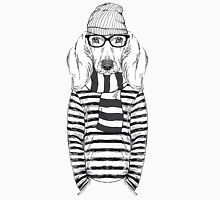 Hand Drawn Fashion Illustration of Doggy Hipster Unisex T-Shirt