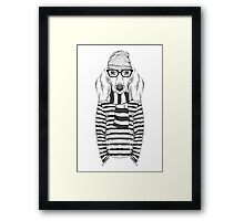 Hand Drawn Fashion Illustration of Doggy Hipster Framed Print