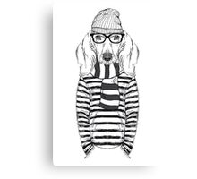 Hand Drawn Fashion Illustration of Doggy Hipster Canvas Print