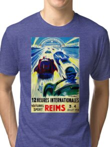 """""""REIMS"""" Grand Prix Vintage Auto Race Print Tri-blend T-Shirt"""