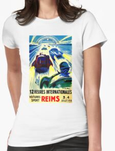 """""""REIMS"""" Grand Prix Vintage Auto Race Print Womens Fitted T-Shirt"""