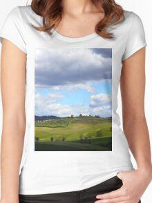 All About Italy. Tuscany Landscape 1 Women's Fitted Scoop T-Shirt