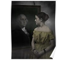 Girl looking at George Washington Portrait Poster