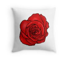 Open Red Rose Throw Pillow