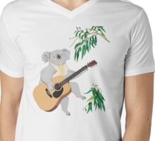 Koala Playing Guitar Mens V-Neck T-Shirt