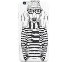 Hand Drawn Fashion Illustration of Doggy Hipster iPhone Case/Skin