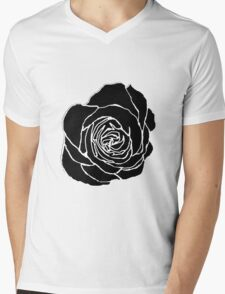 Open Black Rose Mens V-Neck T-Shirt