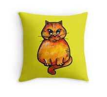 the angry cat Throw Pillow