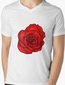 Open Red Rose Mens V-Neck T-Shirt